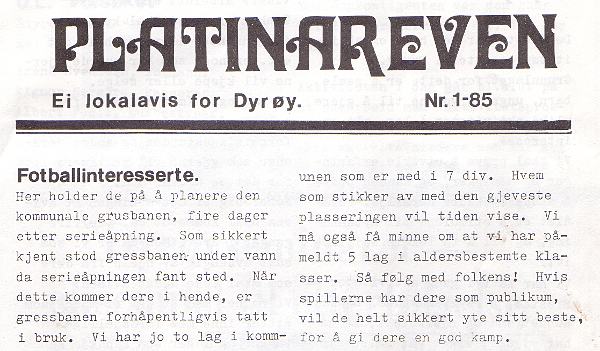 """Innslag i lokalavisa """"Platinareven"""". Bildet øverst i innlegget her var illustrasjonsbilde til artikkelen."""